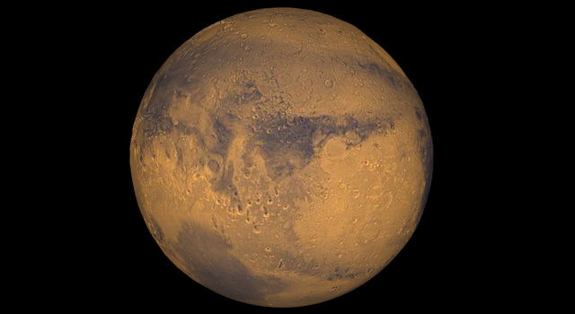 Mars true-color globe showing Terra Meridiani.