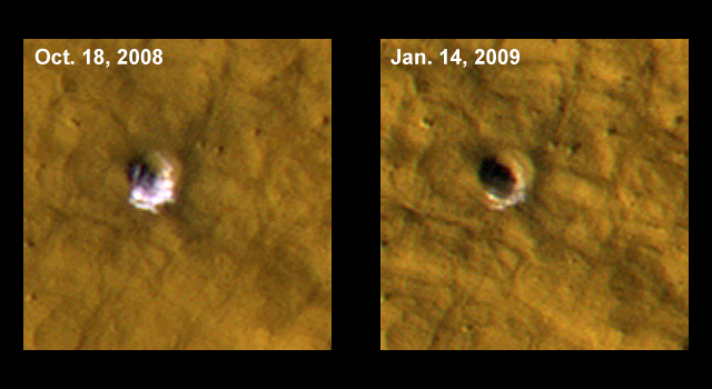 NASA spacecraft sees ice on Mars exposed by meteor impacts