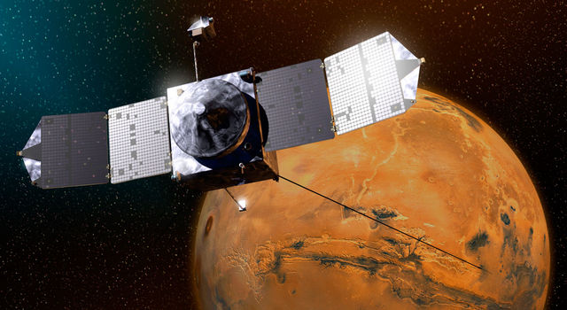 This artist's sketch shows MAVEN above Mars.