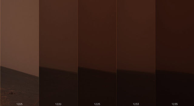 Opportunity's view of sky over several days