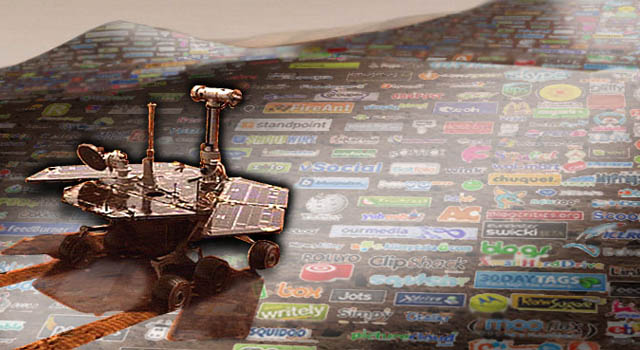montage showing an artist concept of the Mars Exploration Rovers along with social-networking sites.