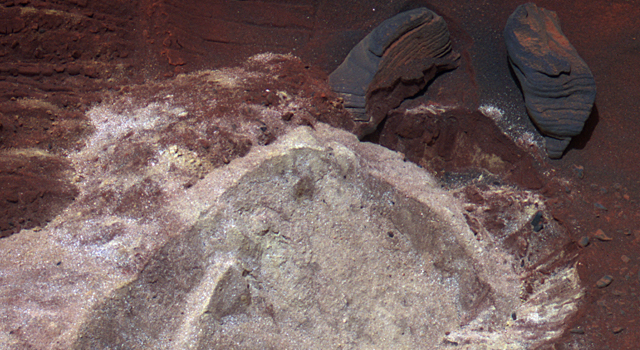Soft soil exposed when wheels of NASA's Mars Exploration Rover Spirit dug into a patch of ground.