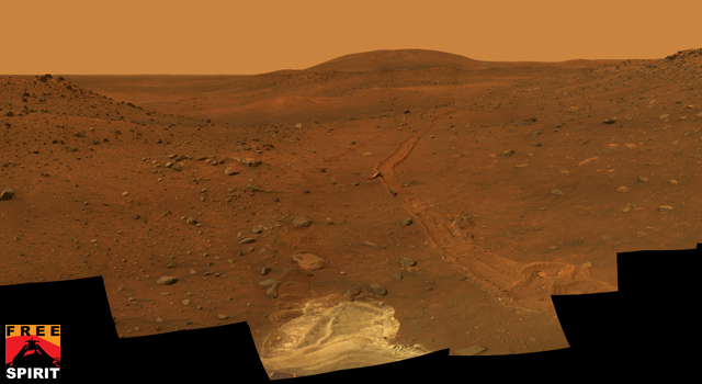 Full-circle view of Spirit's Troy location on Mars