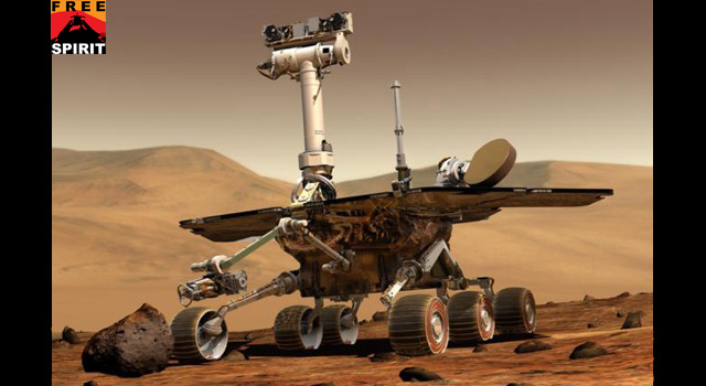 An artist's concept of a NASA Mars Exploration Rover