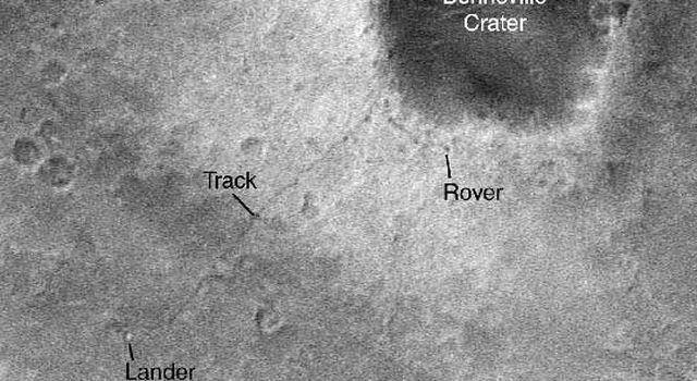 Spirit rover tracks seen from orbit