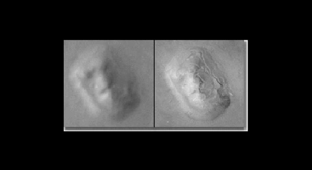 'The Face' imaged by Viking in 1976 (left) and Mars Surveyor in 2001 (right).
