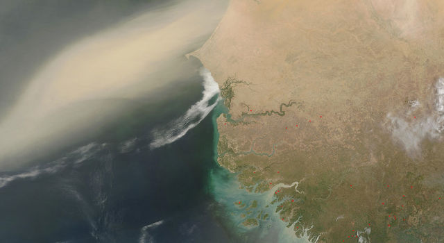 Dust plume blowing off the Sahara Desert