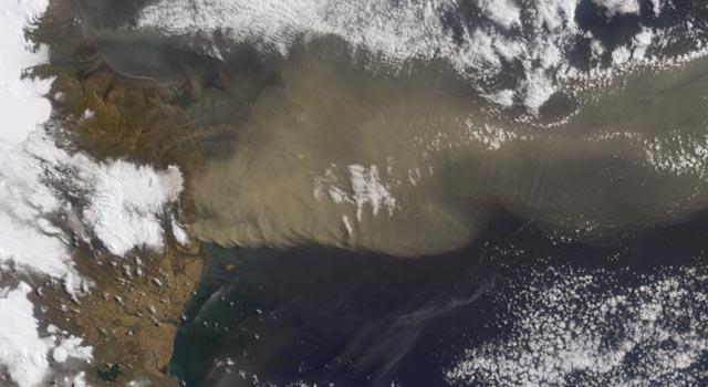 Satellite image of Iceland's Eyjafjallajokull Volcano