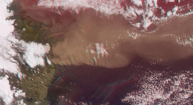 Anaglyph image of Iceland's Eyjafjallajokull Volcano