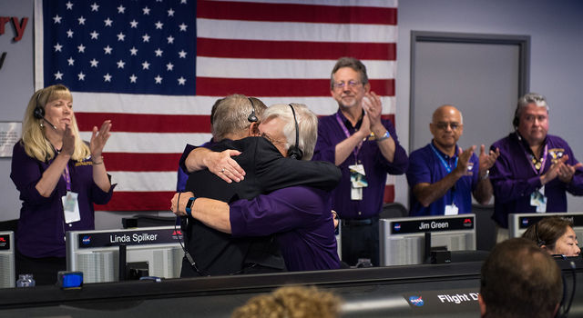 Celebration in the mission control room