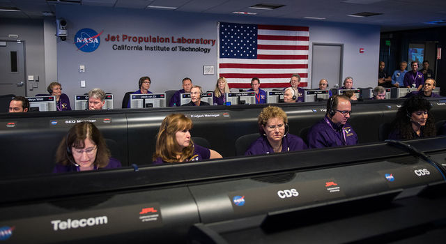 Mission control at NASA's  Jet Propulsion Laboratory
