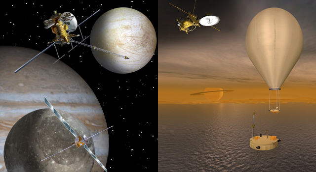 artist concept of missions to Jupiter and Saturn systems