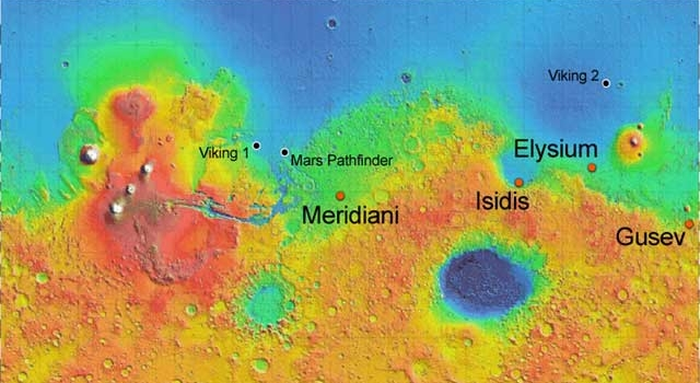 Potential landing sites for Mars Exploration Rovers