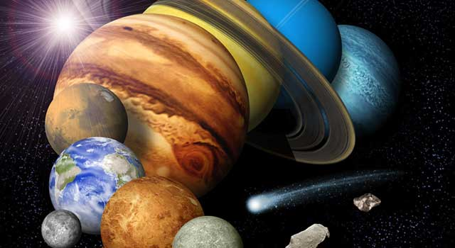An artist's concept of a solar-system montage featuring the eight planets, a comet and an asteroid.