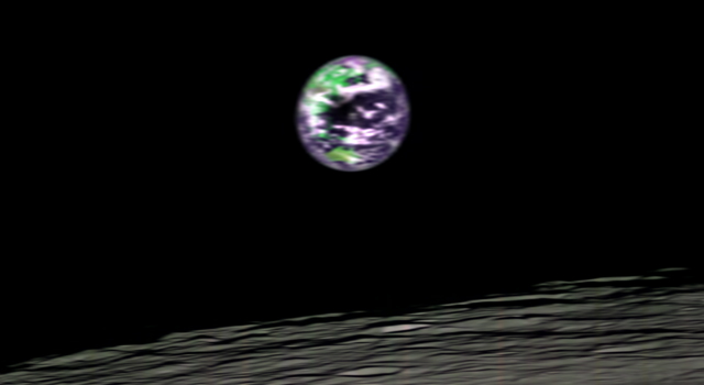 false-color image of Earth, seen from moon