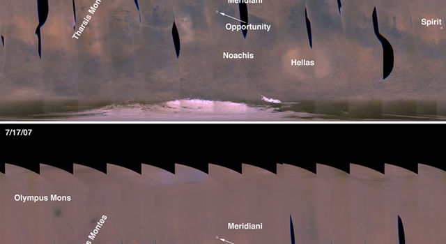 view from Mars Reconnaissance Orbiter of dust storms on Mars