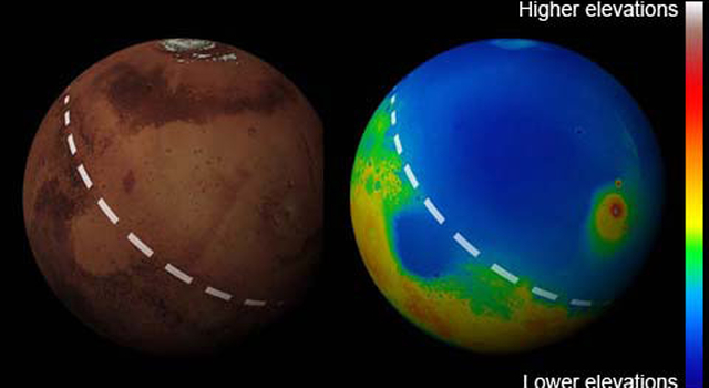 global views showing elevation map of Mars