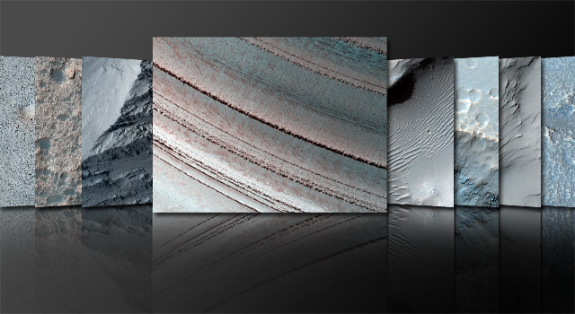 composite of martian images taken by the Mars Reconnaissance Orbiter