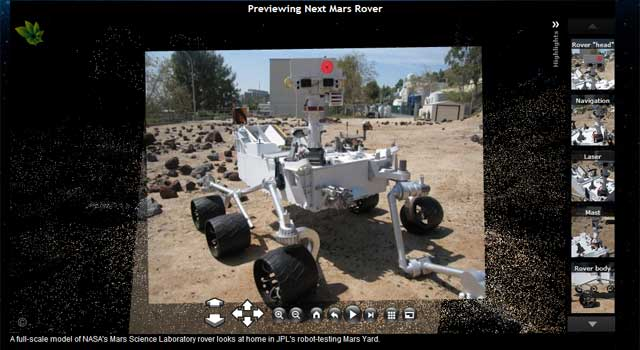 view of Mars Science Lab model on Photosynth