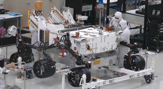Mars rover Curiosity with newly installed wheels
