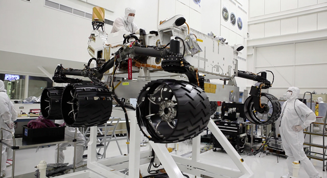 Engineers just installed six new wheels on the Curiosity rover, and rotated all six wheels at once on July 9, 2010