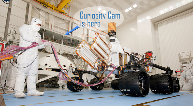 Engineers build the next Mars rover, Curiosity, in the clean room at JPL