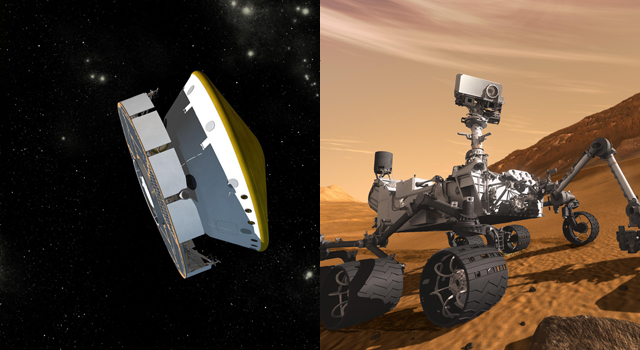 Artist's concept illustrations show (left) the Mars Science Laboratory spacecraft during its voyage from Earth to Mars and (right)