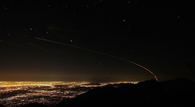 Trail of NASA's Mars InSight lander over the Los Angeles area