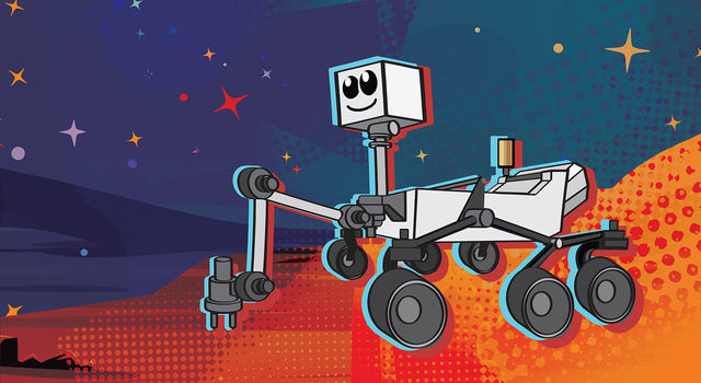 This cartoon depicts NASA's next Mars rover, which launches in 2020