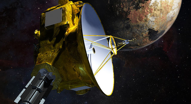 Artist's concept of NASA's New Horizons spacecraft as it passes Pluto