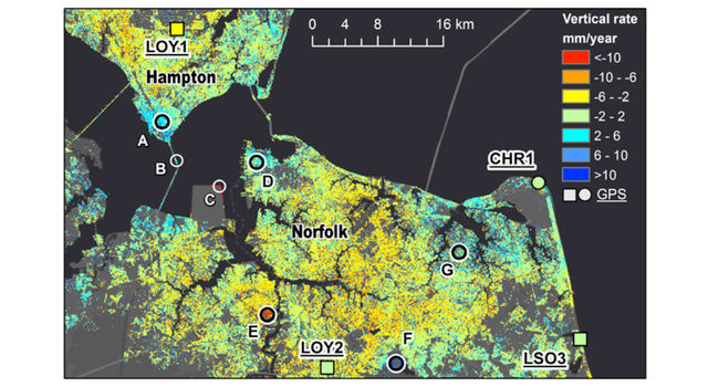 Part of the new map showing subsidence rates in millimeters per year