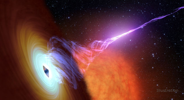 This artist's concept shows a black hole with an accretion disk.