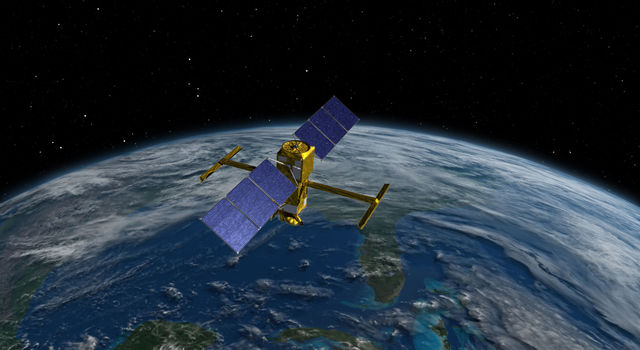Artist's rendering of the Surface Water and Ocean Topography (SWOT) spacecraft.