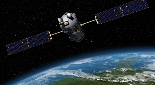 This is an artist's concept of the Orbiting Carbon Observatory.