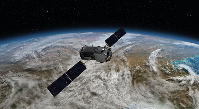 Artist's rendering of NASA's Orbiting Carbon Observatory (OCO)-2, one of five new NASA Earth science missions set to launch in 2014, and one of three managed by JPL