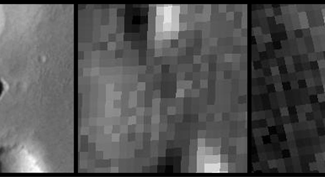 One of three images with different wavelengths showing the same patch of Martian ground
