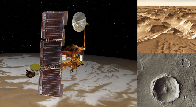 Artist concept of NASA's Mars Odyssey orbiter with actual images taken by the spacecraft.