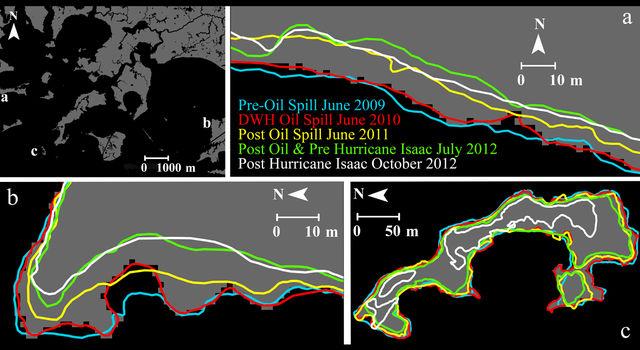 Barataria Bay, Louisiana, shoreline changes