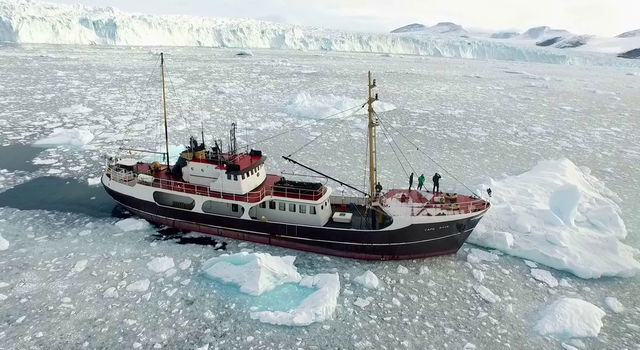 Research ship M/V Cape Race on Greenland's northwest coast