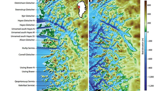 Maps of the northwest Greenland coastline