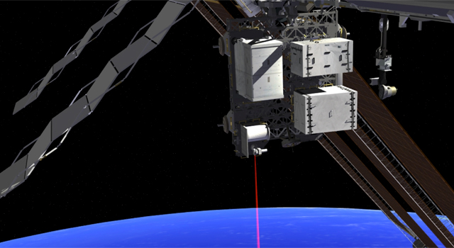 This artist's concept shows how the Optical Payload for Lasercomm Science (OPALS) laser will beam data to Earth from the International Space Station.