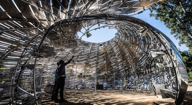 Visitors inside the Orbit Pavilion