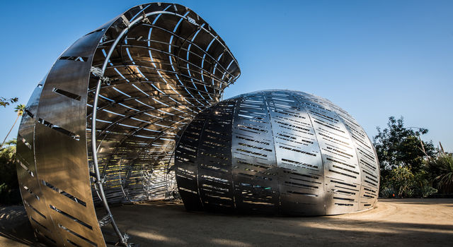 The exterior of the Orbit Pavilion