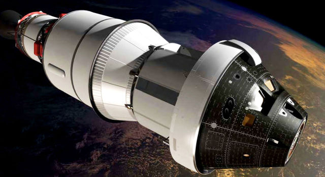 An artist's impression of the first Orion spacecraft in orbit attached to a Delta IV