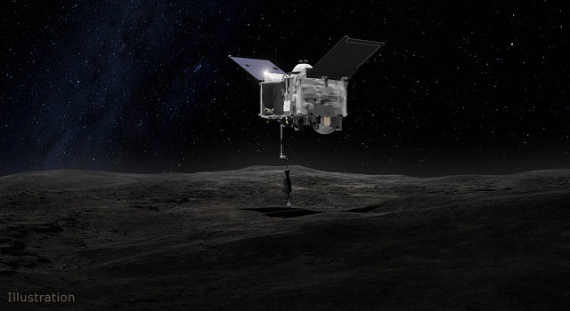 This artist's concept shows the Origins Spectral Interpretation Resource Identification Security - Regolith Explorer (OSIRIS-REx) spacecraft