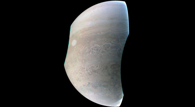 This image, taken by the JunoCam imager on NASA's Juno spacecraft.