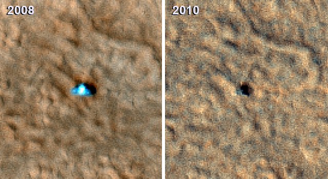 The Phoenix Mars Lander in 2008 (top) and 2010 (bottom)
