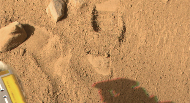 impression on the surface of Mars