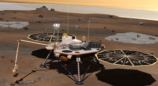 Artist's depiction of the spacecraft fully deployed on the surface of Mars.