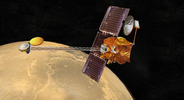 Artist concept of NASA's Mars Odyssey orbiter